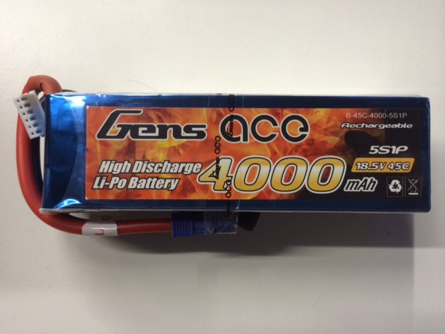 Gens Ace 5S1P 4000mAh 18.5v 45C Lipo Battery Pack
